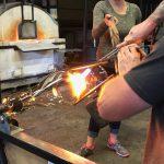 Hand shaping Portaluppi glass